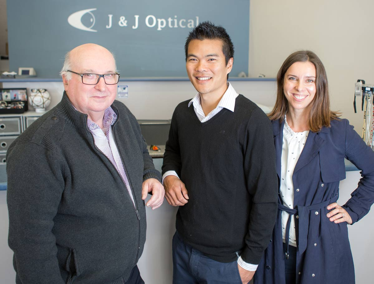 Optical dispenser John, and optometrists Jason & Georgia of J & J Optical East Maitland