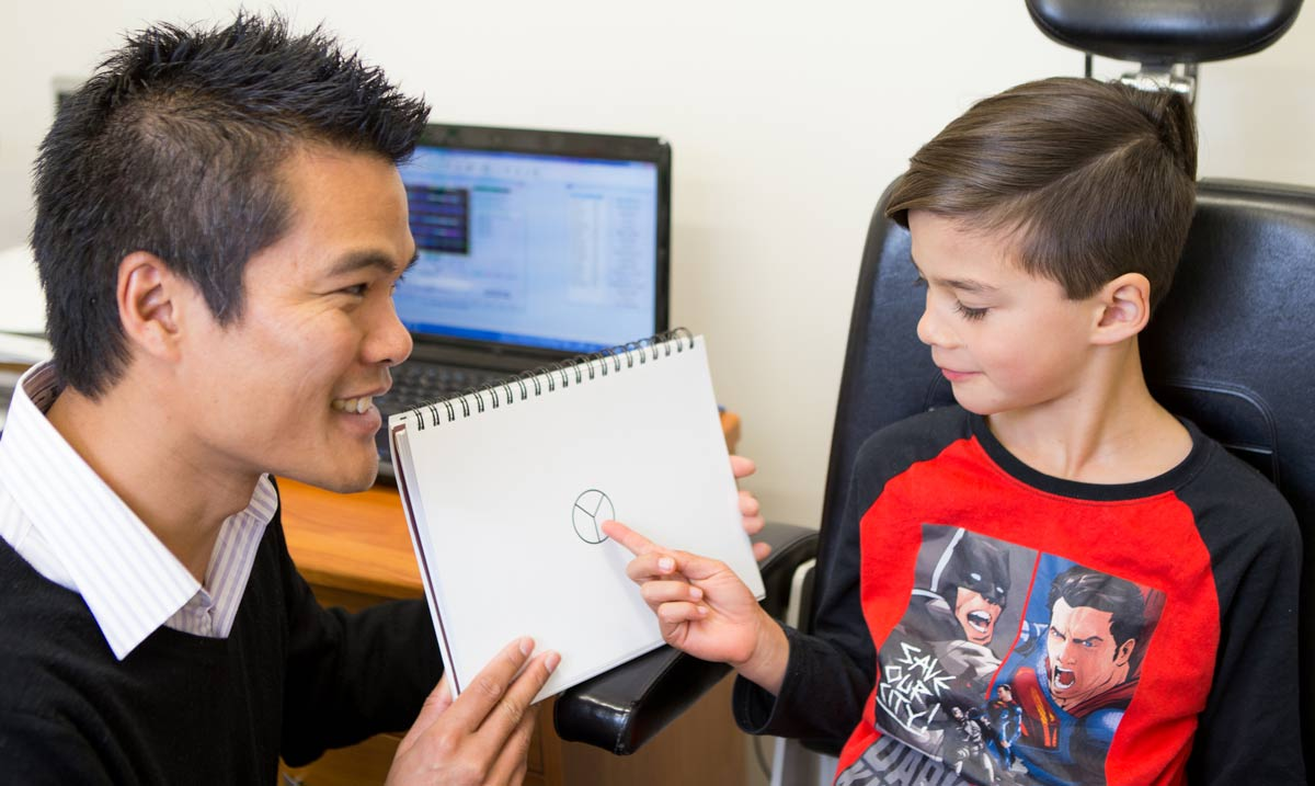 Newcastle Behavioral Optometrist Jason Tang testing visual perception