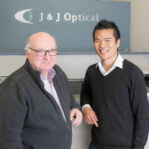 Optometrist Jason Tang & Optical Dispenser John Kearns of J & J Optical East Maitland